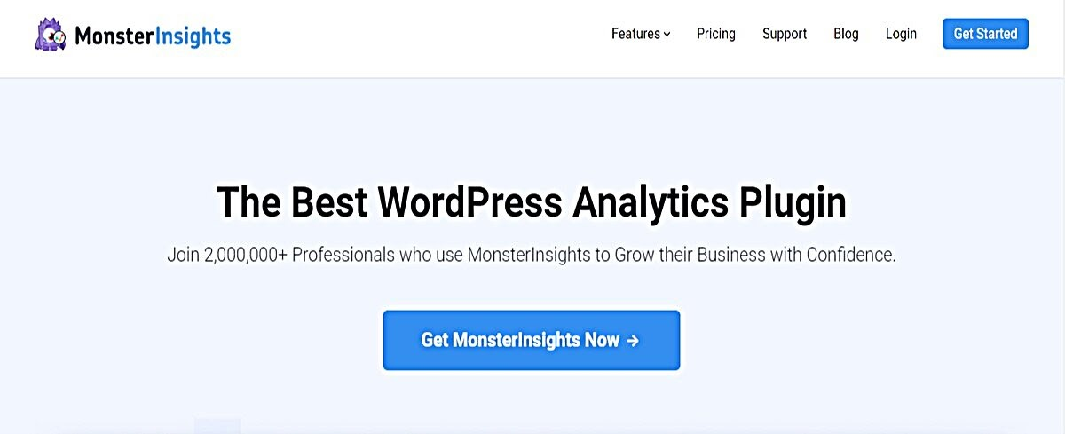 Screenshot of the MonsterInsights homepage, one of the best WordPress plugins for writers
