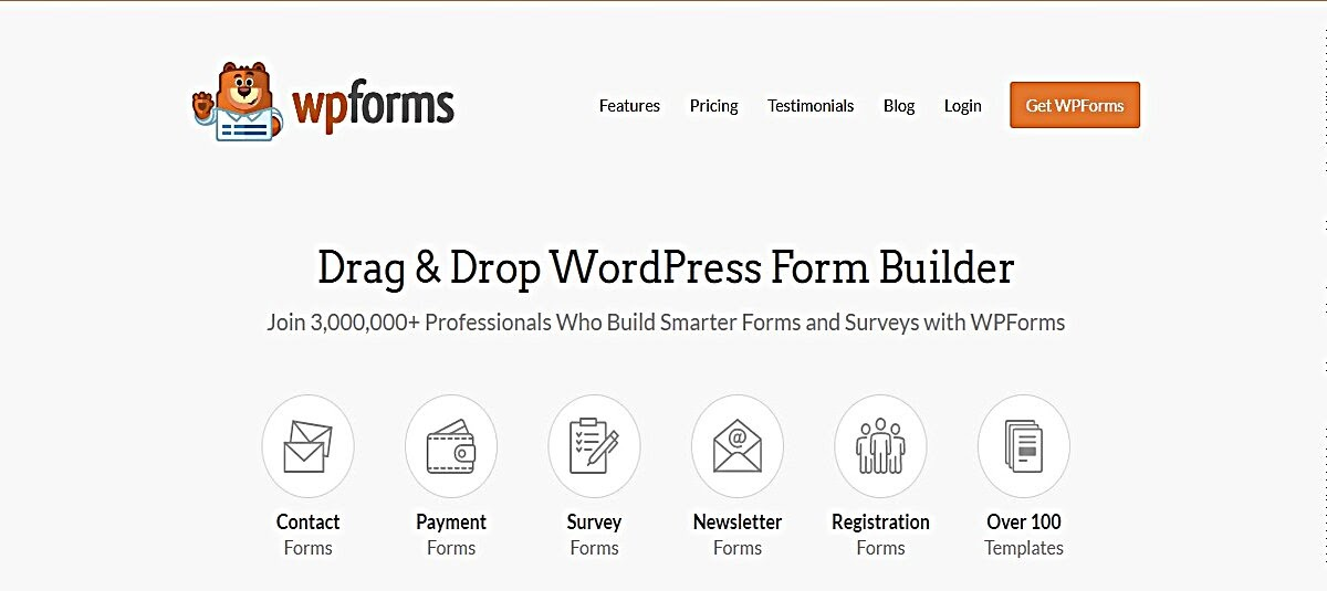 Screenshot showing the benefits of using WPForms