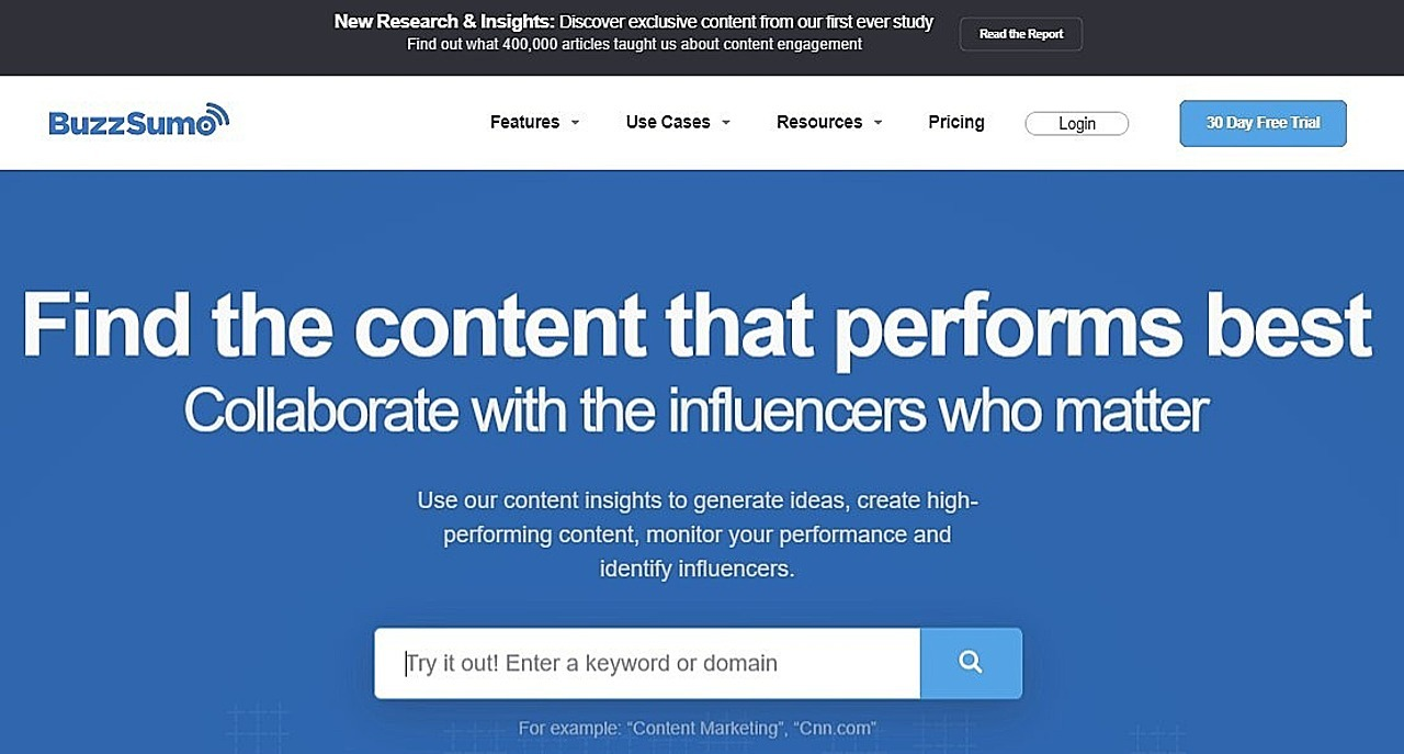 Screenshot of BuzzSumo homepage, one of the best tools to help you drive traffic to your website