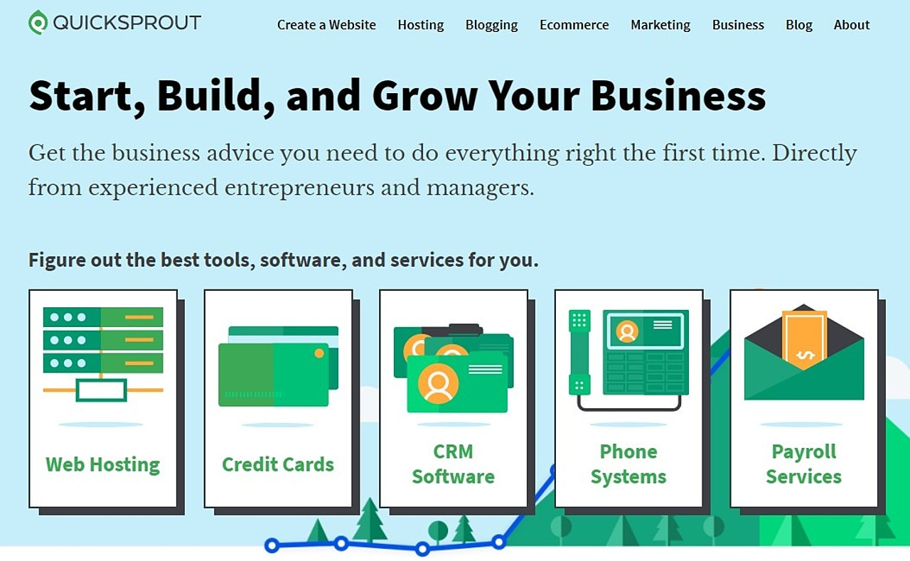 Screenshot of QuickSprout homepage, a tool that will help you drive traffic to your website