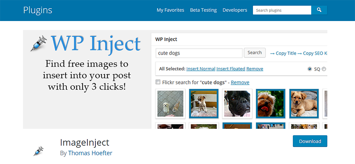 Screenshot showing how the ImageInject WordPress plugin works