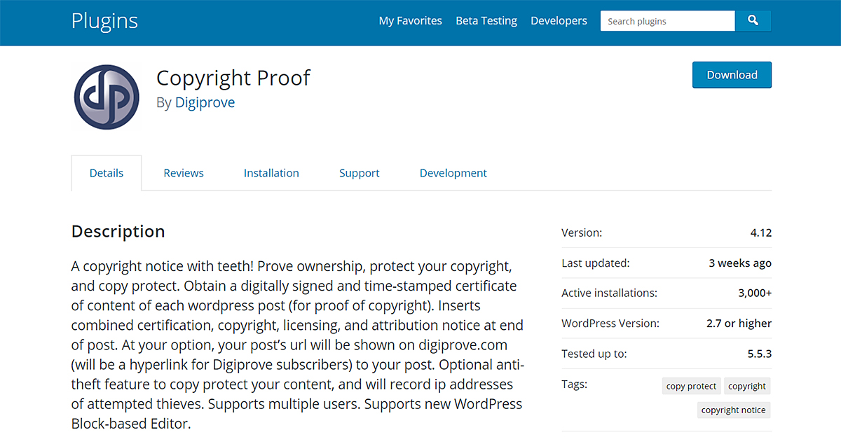 Screenshot of the Copyright Proof plugin page