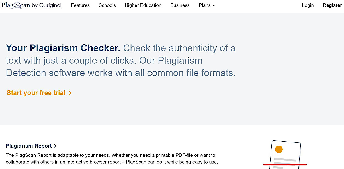 Screenshot of the PlagScan homepage, plagiarism checker software