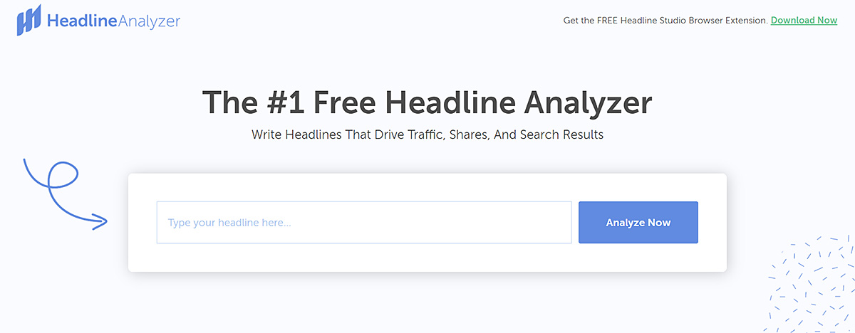 Screenshot of the HeadlineAnalyzer page where you can enter your headlines
