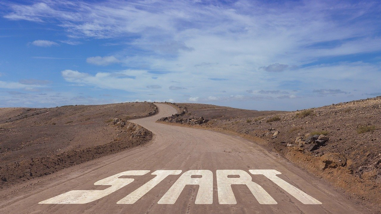 """A long road with the word """"start"""". At the start of your writing career you may want to write a free test article."""