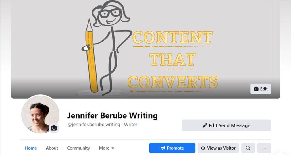 Jennifer Berube's freelance writing business page on Facebook