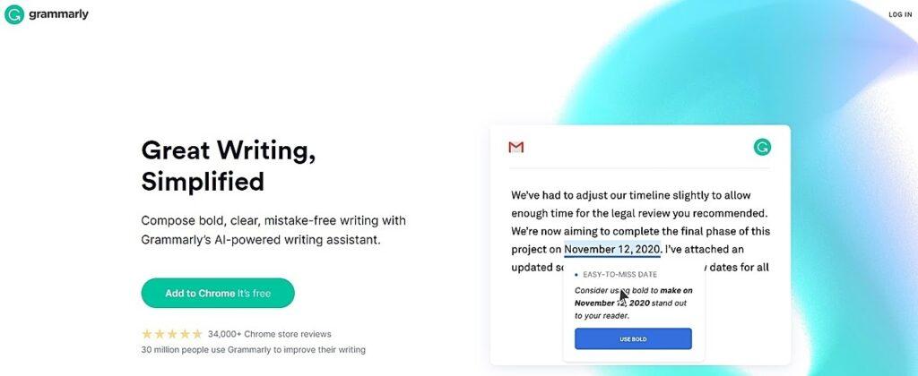 Grammarly homepage screenshot