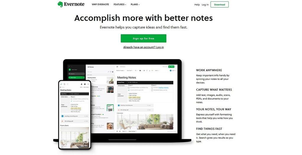 Evernote homepage screenshot