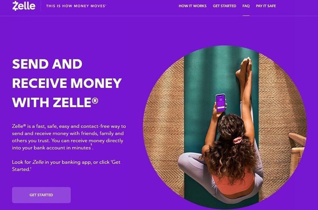 Zelle homepage screenshot