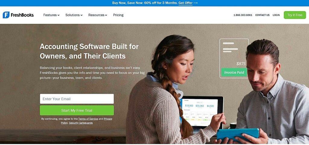 FreshBooks homepage screenshot