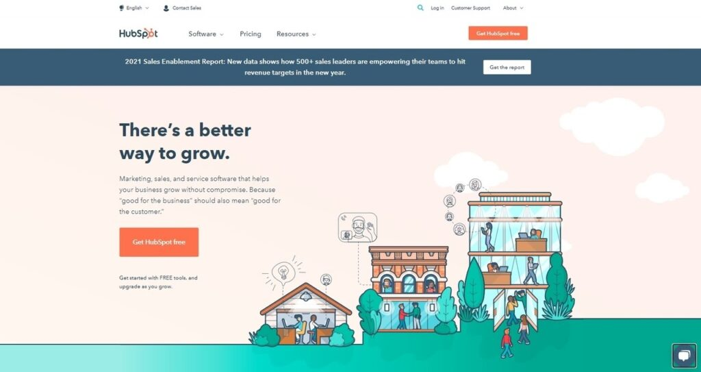 HubSpot homepage screenshot