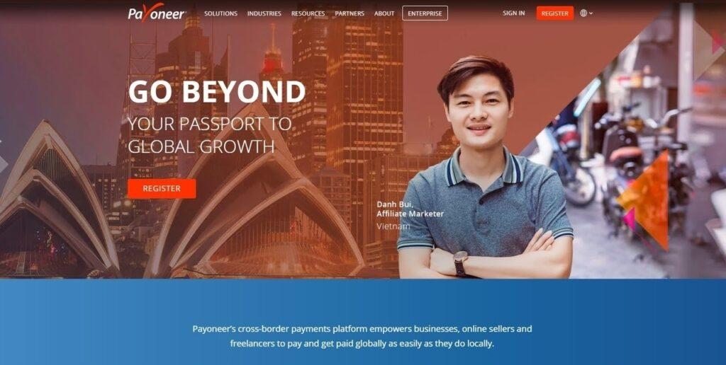 Payoneer homepage screenshot