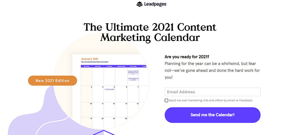 Leadpages 2021 content marketing calendar homepage screenshot