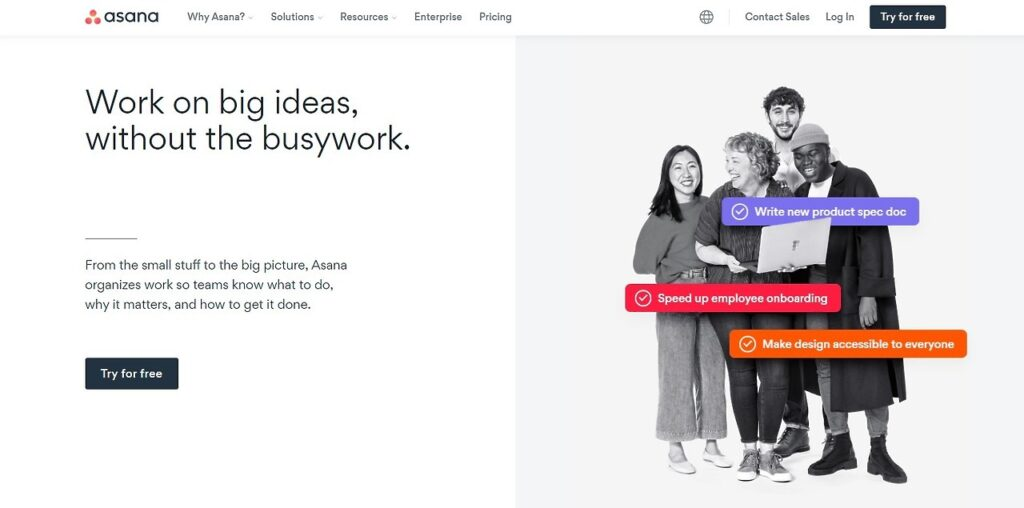 Asana homepage with text, work on big ideas, and picture of four diverse people
