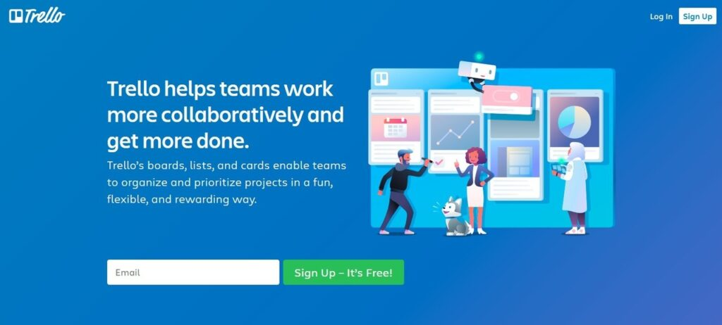 Screenshot of Trello homepage that says Trello helps teams work more collaboratively and get more done