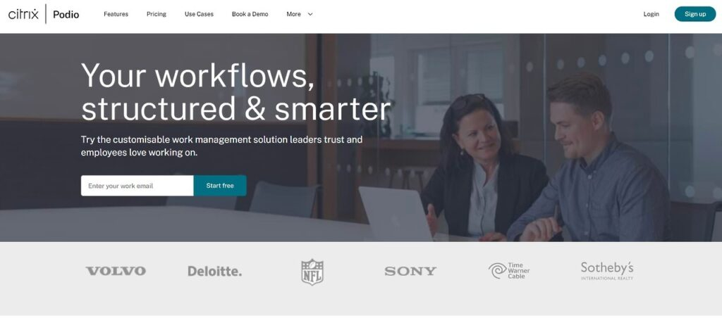 Podio banner that says, your workflows, structured & smarter with picture of man and woman in boardroom at laptop